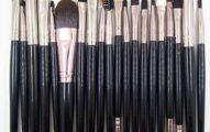20pc Makeup Brush Set Eyeshadow Foundation Powder Blush Cosmetics Brushes Double Head Spone Eyebrow Mascara Face Make Up Brush Tools Kit (Black)