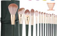 Makeup Brush Set 14 PCS Makeup Brushes 4 Blender Sponges and 1 Sponge Holder Premium Synthetic Foundation Powder Concealers Eye Shadows Blush Makeup Brushes Kit With Leather bag