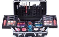 Maúve Carry All Trunk Train Case with Makeup and Reusable Black & White Aluminum Case (BLACK)